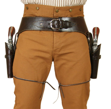 Vintage Mens Brown Leather Un-Tooled Gunbelt Holster Combo | Romantic | Old Fashioned | Traditional | Classic || (.22 cal) Western Gun Belt and Holster - Double - Plain Brown Leather