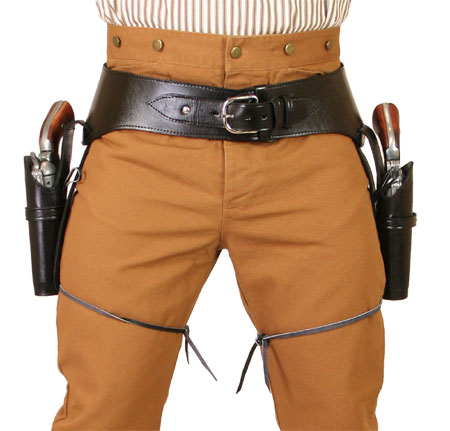 Vintage Mens Black Leather Un-Tooled Gunbelt Holster Combo | Romantic | Old Fashioned | Traditional | Classic || (.22 cal) Western Gun Belt and Holster - Double - Plain Black Leather