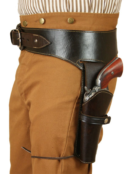 Wedding Mens Brown Leather Un-Tooled Gunbelt Holster Combo | Formal | Bridal | Prom | Tuxedo || (.22 cal) Western Gun Belt and Holster - LH Draw - Plain Brown Leather