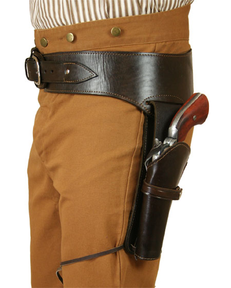 Wedding Mens Brown Leather Un-Tooled Gunbelt Holster Combo | Formal | Bridal | Prom | Tuxedo || (.38/.357 cal) Western Gun Belt and Holster - LH Draw - Plain Brown Leather