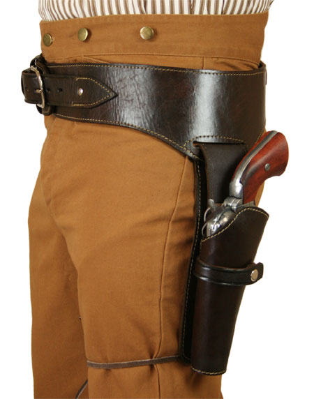 Victorian Mens Brown Leather Un-Tooled Gunbelt Holster Combo | Dickens | Downton Abbey | Edwardian || (.44/.45 cal) Western Gun Belt and Holster - LH Draw - Plain Brown Leather