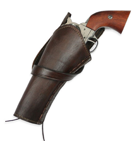 Victorian Mens Brown Leather Un-Tooled Holster | Dickens | Downton Abbey | Edwardian || Western Holster - LH Cross-Draw - Plain Brown Leather