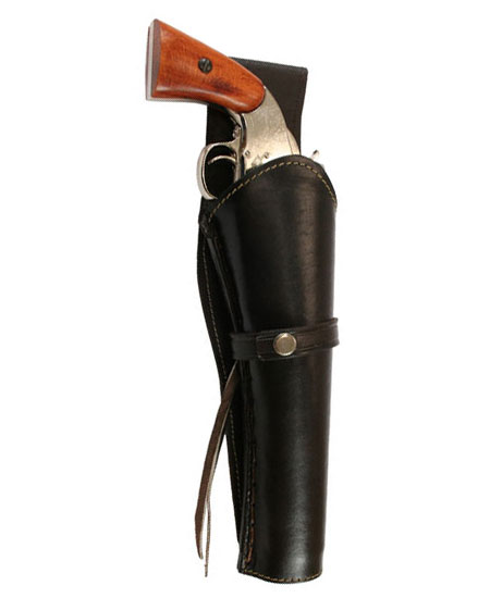 1800s Mens Brown Leather Un-Tooled Holster | 19th Century | Historical | Period Clothing | Theatrical || Western Holster - RH Draw (Extra-Long Barrel) - Plain Brown Leather