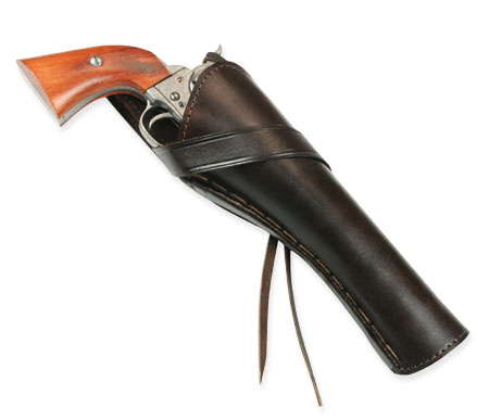 Victorian Mens Brown Leather Un-Tooled Holster   Dickens   Downton Abbey   Edwardian    Western Holster - RH Cross-Draw (Long Barrel) - Plain Brown Leather