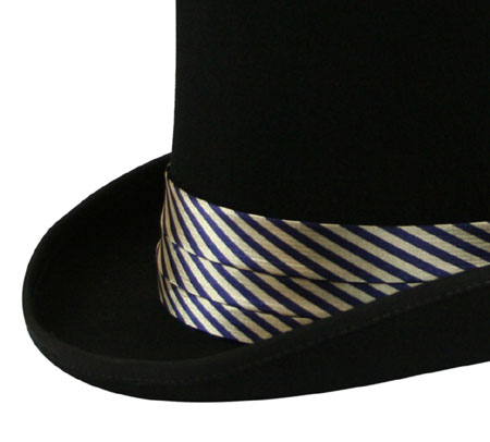 Hat Band - Navy/Gold Striped Satin