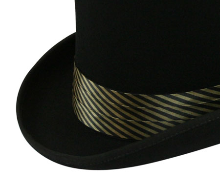 1800s Mens Black,Gold Satin Hat Band | 19th Century | Historical | Period Clothing | Theatrical || Hat Band - Black/Gold Striped Satin