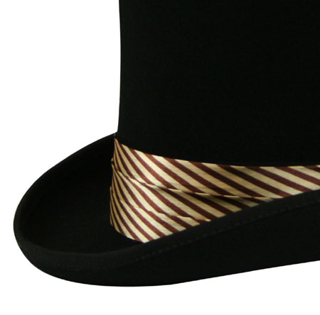 1800s Mens Brown,Tan Satin Hat Band | 19th Century | Historical | Period Clothing | Theatrical || Hat Band - Brown/Beige Striped Satin