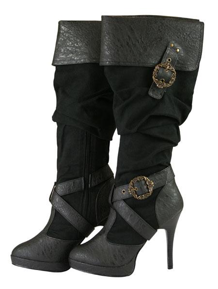 Bonny Buckle Boot - Black Faux Leather