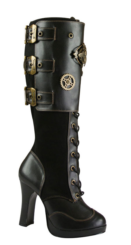 Wedding Ladies Black Faux Leather Boots | Formal | Bridal | Prom | Tuxedo || Tall Steampunk Pirate Boot - Black Faux Leather