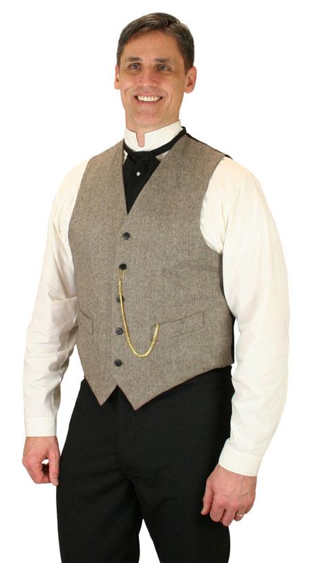 Steampunk Mens Brown Tweed,Wool Solid No Collar Dress Vest   Gothic   Pirate   LARP   Cosplay   Retro   Vampire    Peabody Wool Vest