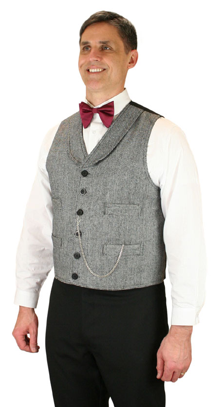 1800s Mens Gray,Black,White Tweed,Wool Solid Shawl Collar Dress Vest | 19th Century | Historical | Period Clothing | Theatrical || Ritter Wool Vest - Black / White