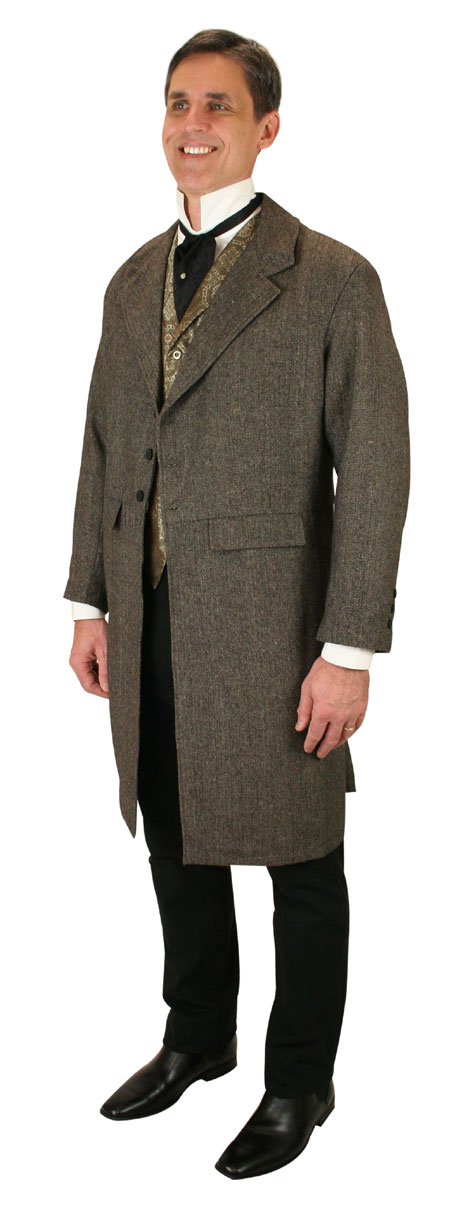Vintage Mens Brown Tweed,Wool Blend Herringbone Notch Collar Frock Coat | Romantic | Old Fashioned | Traditional | Classic || Grosvenor Frock Coat - Brown Herringbone