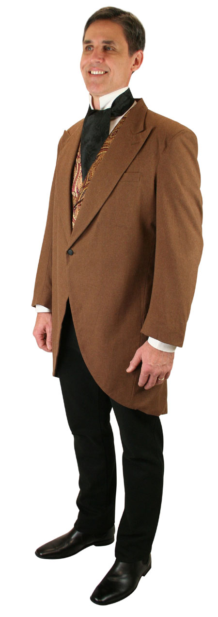 Vintage Mens Brown Peak Collar Cutaway Coat | Romantic | Old Fashioned | Traditional | Classic || Victorian Cutaway Morning Coat - Brown Wool
