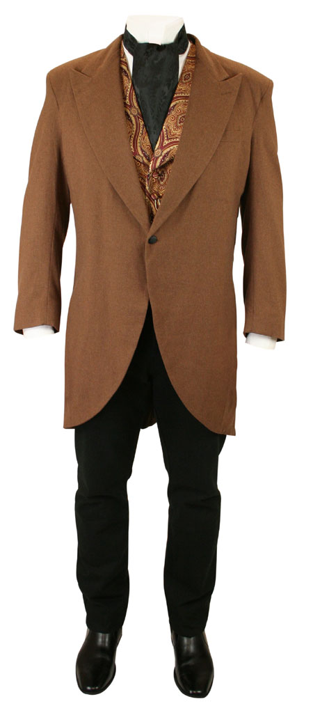 Victorian Cutaway Morning Coat - Brown Wool