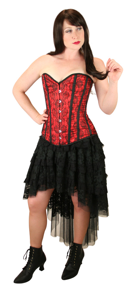 Wedding Ladies Red Floral Corset | Formal | Bridal | Prom | Tuxedo || Destiny Overbust Fashion Corset - Red
