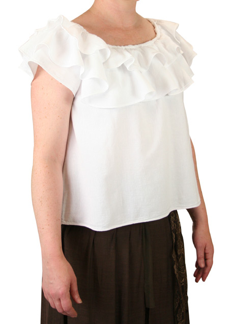 Victorian Ladies White Cotton Solid No Collar Blouse | Dickens | Downton Abbey | Edwardian || Gwendolyn Peasant Blouse - White