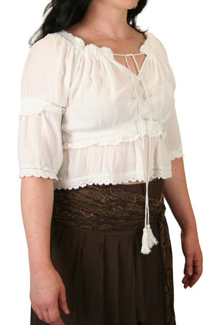 Mirabelle  Peasant Top - White