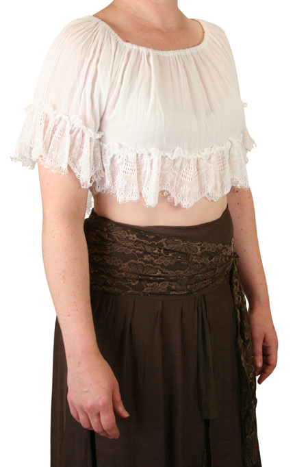 1800s Ladies White Cotton Blend Solid No Collar Blouse | 19th Century | Historical | Period Clothing | Theatrical || Lynette Cropped Peasant Top - White