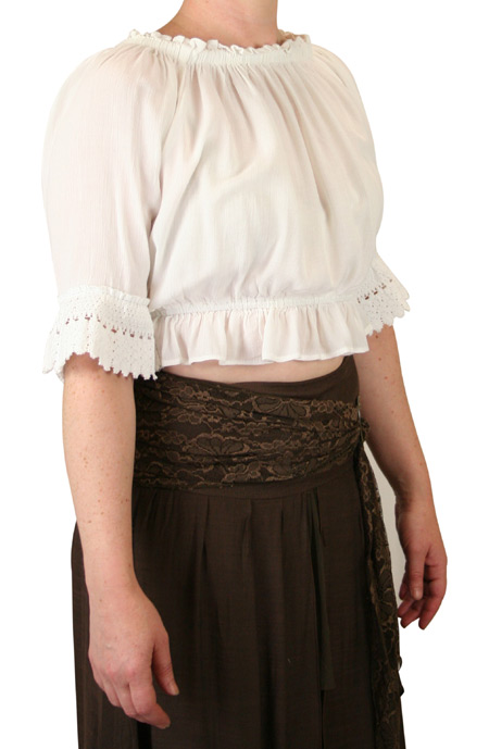 1800s Ladies White Cotton Blend Solid No Collar Blouse | 19th Century | Historical | Period Clothing | Theatrical || Josselyn Cropped Peasant Top - White
