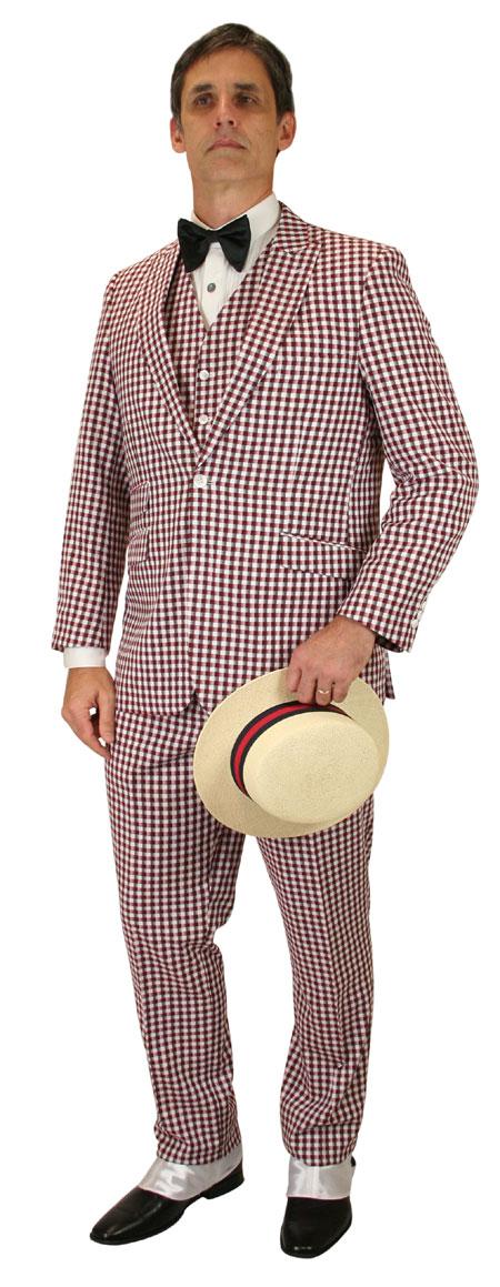 Vintage Mens Burgundy Plaid Suit | Romantic | Old Fashioned | Traditional | Classic || 3-Piece Plaid Suit - Burgundy