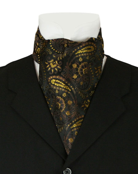 Wedding Mens Multicolor,Black,Gold Solid Ascot | Formal | Bridal | Prom | Tuxedo || Fortune Ascot - Black & Gold