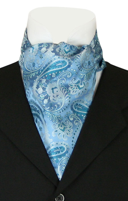 Victorian Mens Blue Paisley Ascot | Dickens | Downton Abbey | Edwardian || Fortune Ascot - Light Blue