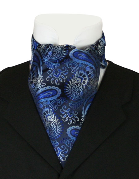 Steampunk Mens Blue Paisley Ascot | Gothic | Pirate | LARP | Cosplay | Retro | Vampire || Fortune Ascot - Blue