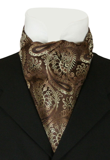 1800s Mens Multicolor,Brown Paisley Ascot | 19th Century | Historical | Period Clothing | Theatrical || Fortune Ascot - Brown