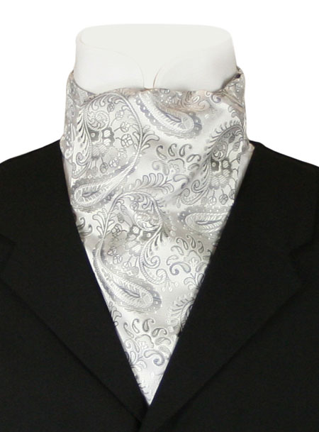 1800s Mens Silver Paisley Ascot | 19th Century | Historical | Period Clothing | Theatrical || Fortune Ascot - Silver