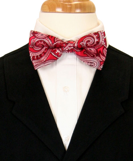 Victorian Mens Red Paisley Bow Tie | Dickens | Downton Abbey | Edwardian || Dashing Bow Tie - Red Paisley