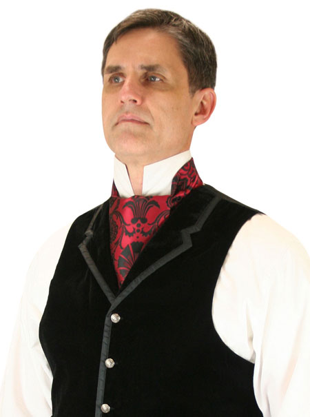 Victorian Mens Red Floral Ascot | Dickens | Downton Abbey | Edwardian || Penworth Ascot - Red