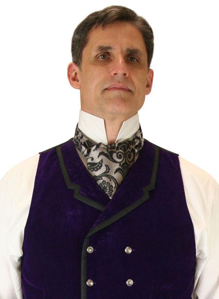 Steampunk Mens Silver,Gray Floral Ascot | Gothic | Pirate | LARP | Cosplay | Retro | Vampire || Penworth Ascot - Silver