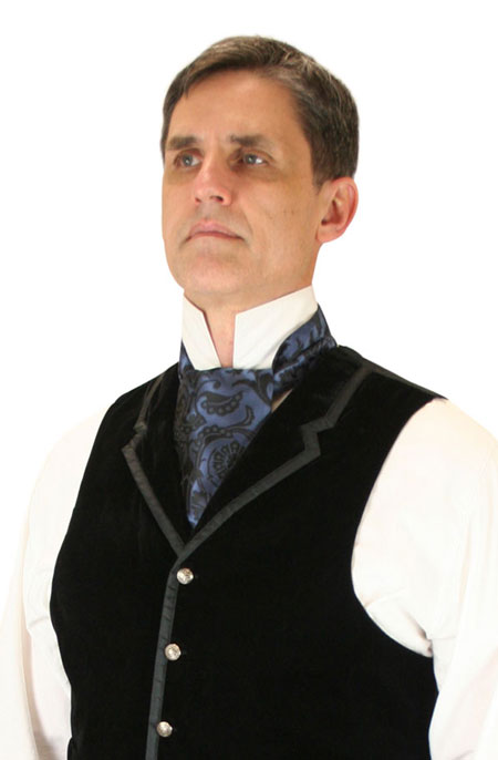 Steampunk Mens Blue Floral Ascot | Gothic | Pirate | LARP | Cosplay | Retro | Vampire || Penworth Ascot - Blue