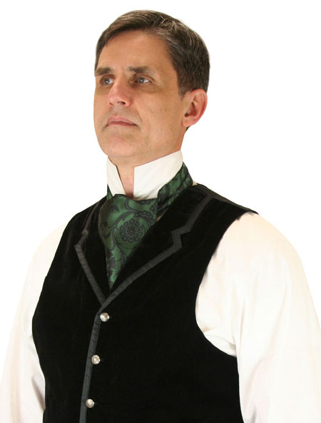 1800s Mens Green Floral Ascot | 19th Century | Historical | Period Clothing | Theatrical || Penworth Ascot - Green