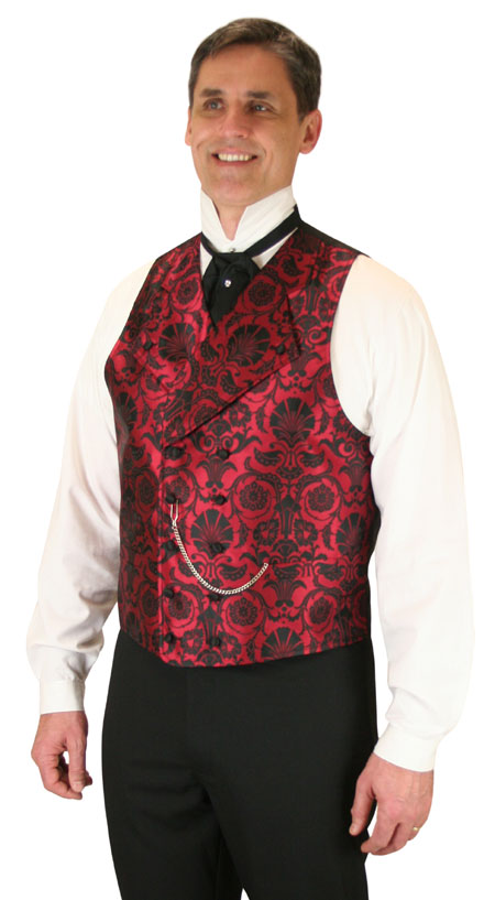 Vintage Mens Red Floral Notch Collar Dress Vest | Romantic | Old Fashioned | Traditional | Classic || Penworth Vest - Red