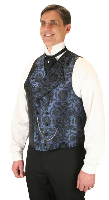 Wedding Mens Blue Floral Notch Collar Dress Vest | Formal | Bridal | Prom | Tuxedo || Penworth Vest - Blue
