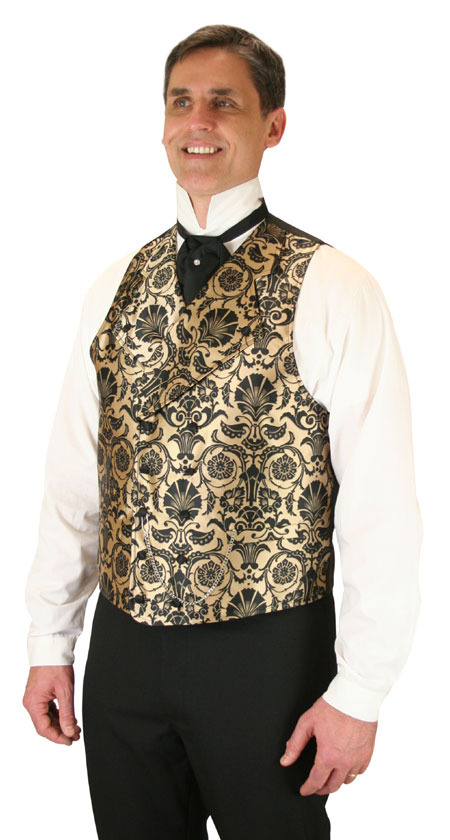 Wedding Mens Gold Floral Notch Collar Dress Vest | Formal | Bridal | Prom | Tuxedo || Penworth Vest - Gold