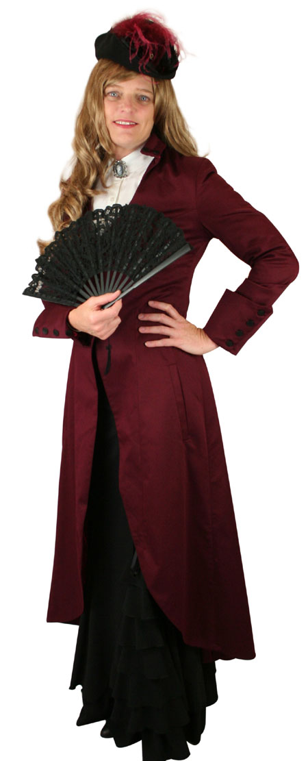 Wedding Ladies Burgundy,Red Cotton Blend Stand Collar Frock Coat   Formal   Bridal   Prom   Tuxedo    Lady Assassin Coat - Burgundy