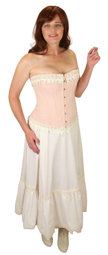 Wedding Ladies Red,Tan Floral Corset | Formal | Bridal | Prom | Tuxedo || Desiree Overbust Fashion Corset - Peach