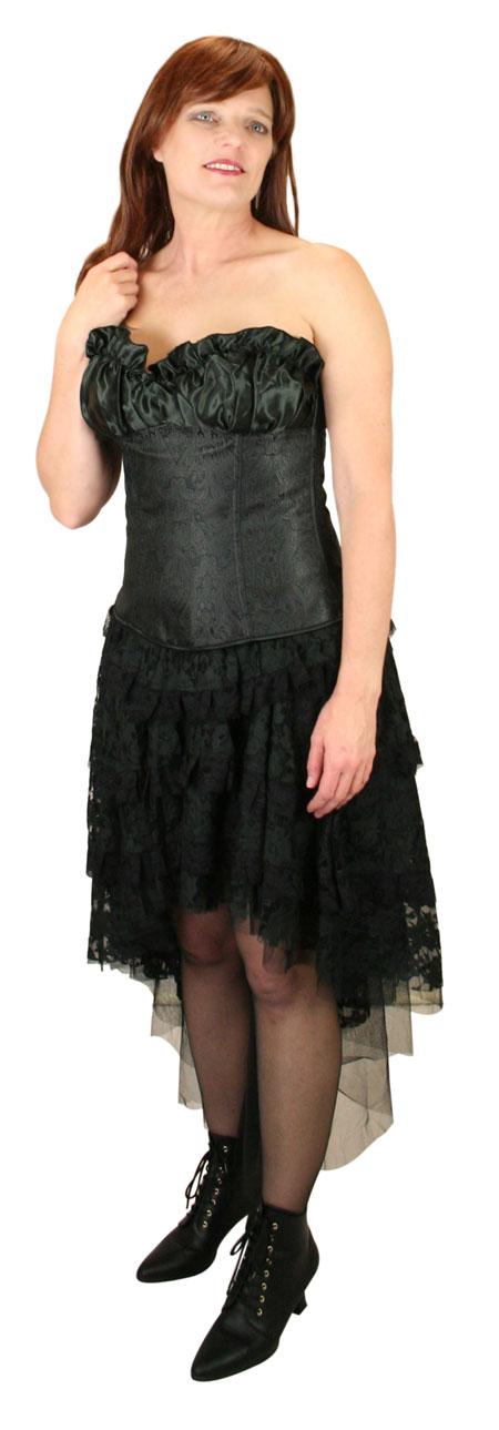 Victorian Ladies Black Paisley Corset | Dickens | Downton Abbey | Edwardian || Gigi Overbust Fashion Corset - Black