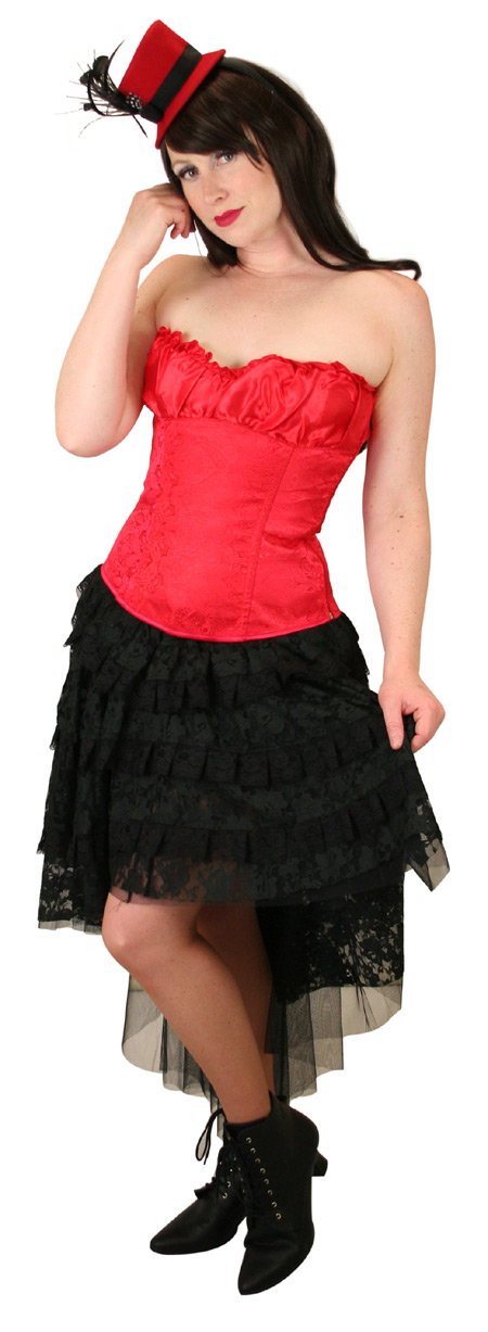 Steampunk Ladies Red Paisley Corset | Gothic | Pirate | LARP | Cosplay | Retro | Vampire || Gigi Overbust Fashion Corset - Red