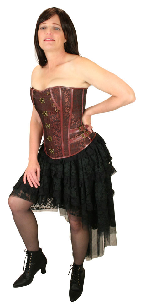 Steampunk Ladies Brown Floral Corset | Gothic | Pirate | LARP | Cosplay | Retro | Vampire || Felicity Overbust Fashion Corset - Brown