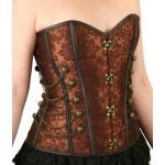 Victorian, Ladies Corsets Brown Satin,Synthetic Floral Corsets |Antique, Vintage, Old Fashioned, Wedding, Theatrical, Reenacting Costume |