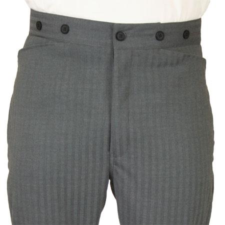 Victorian Mens Gray Herringbone,Stripe Dress Pants | Dickens | Downton Abbey | Edwardian || Hayworth Dress Trousers - Gray Herringbone