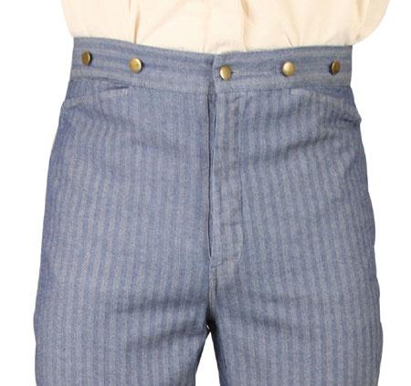 Victorian Mens Blue Cotton Herringbone Work Pants | Dickens | Downton Abbey | Edwardian || Corbett Trousers - Blue Herringbone