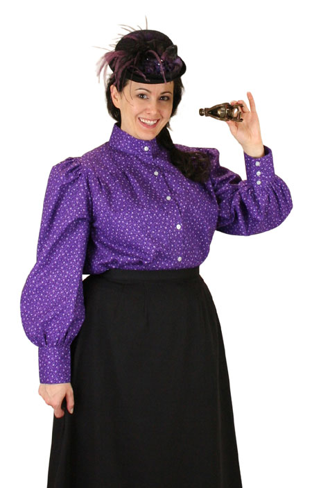 Steampunk Ladies Purple Cotton Floral Stand Collar Blouse | Gothic | Pirate | LARP | Cosplay | Retro | Vampire || Penelope Blouse - Purple
