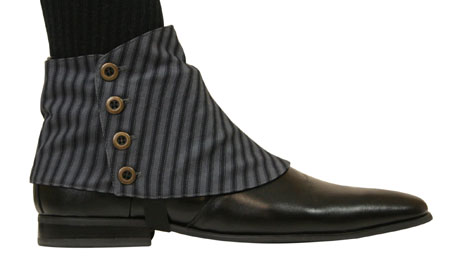 Premium Mens Button Spats - Edgar Stripe (One Pair)