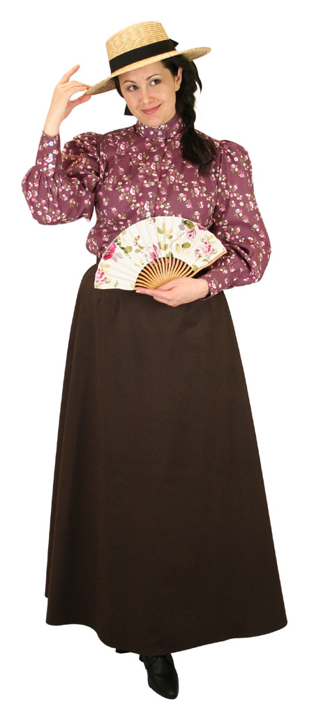 Steampunk Ladies Burgundy Cotton Floral,Calico Stand Collar Blouse | Gothic | Pirate | LARP | Cosplay | Retro | Vampire || Somerset Blouse - Plum