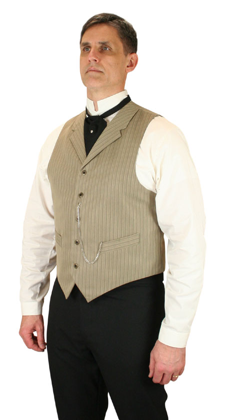 Steampunk Mens Tan Cotton Blend Stripe Notch Collar Dress Vest | Gothic | Pirate | LARP | Cosplay | Retro | Vampire || Cavell Vest - Tan Stripe