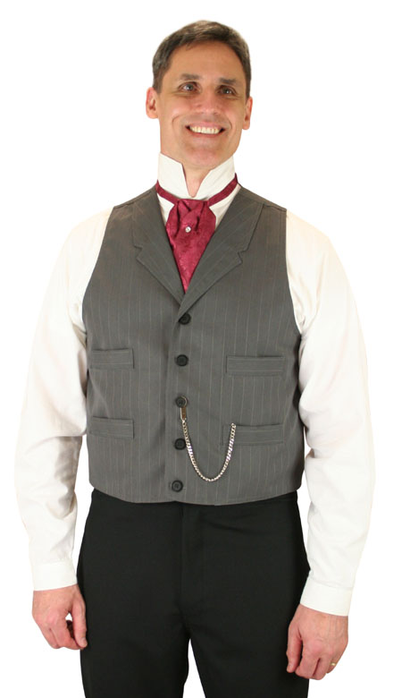 Steampunk Mens Gray Cotton Blend Stripe Notch Collar Dress Vest | Gothic | Pirate | LARP | Cosplay | Retro | Vampire || Jordan Vest - Gray Stripe